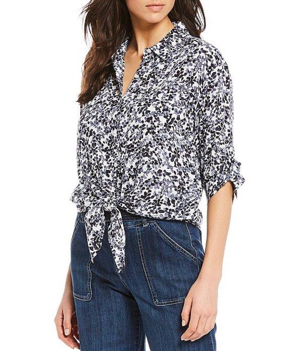 ウエストバウンド レディース シャツ トップス Petite Size Floral Optimist Elbow Sleeve Tie Front Shirt Floral Optimist