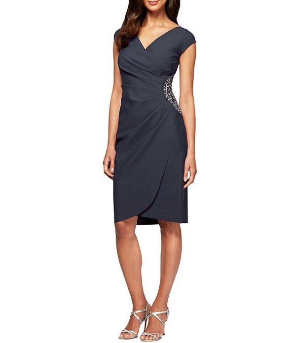 アレックスイブニングス レディース ワンピース トップス Petite Size Beaded Bodice Cap Sleeve Sheath Dress Charcoal