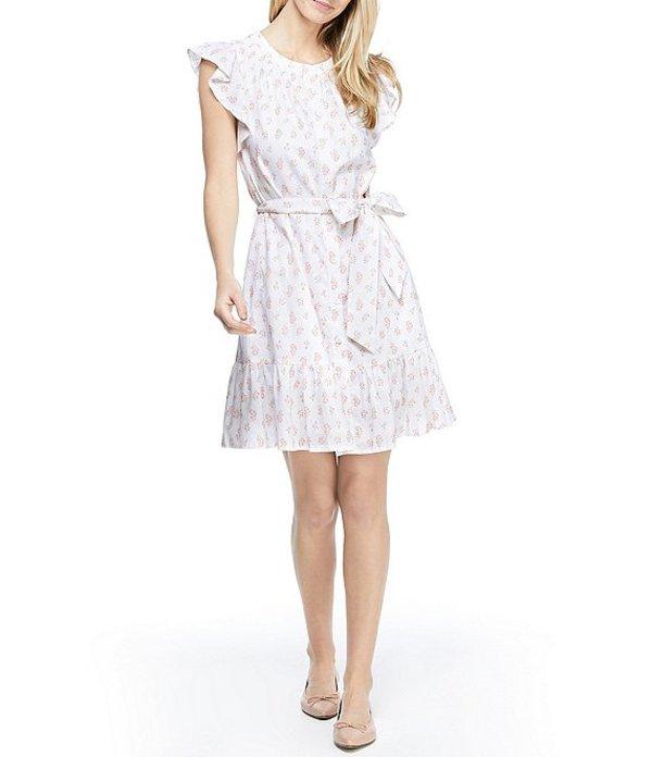 ギャルミーツグラム レディース ワンピース トップス Linen Cotton Blend Floral Print Flounce Hem Tie Waist Button Front Shift Dress Ivory