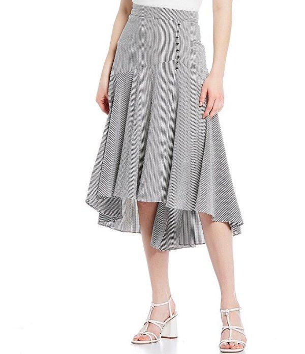 カルバンクライン レディース スカート ボトムス Seersucker Stripe Tiered Hi-Low Midi Skirt Black/White