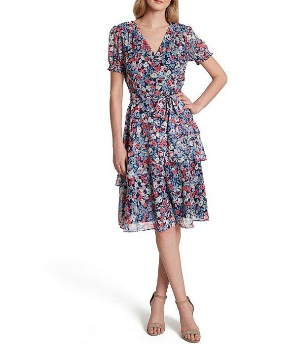 タハリエーエスエル レディース ワンピース トップス Petite Size Floral Print Short Sleeve Tiered Chiffon Faux Wrap Dress Navy Magenta