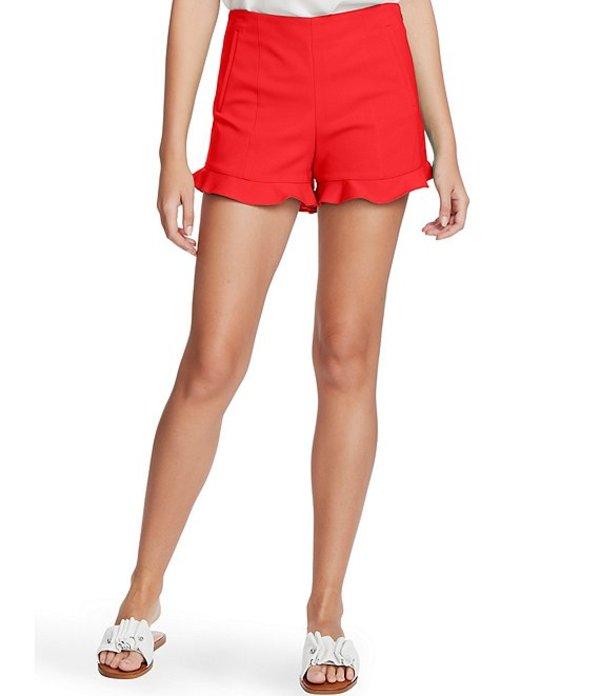 ワンステート レディース ハーフパンツ・ショーツ ボトムス Flat Front Ruffle Hem Shorts Cherry Red