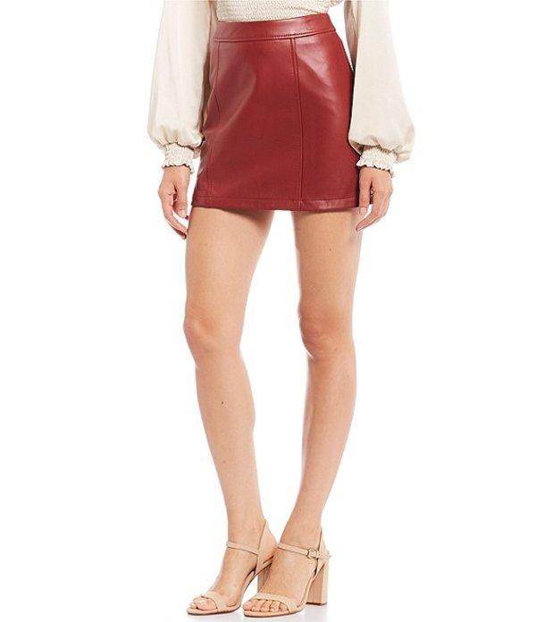 ジャンビニ レディース スカート ボトムス Rachel Genuine Leather Mini Skirt Burnt Red