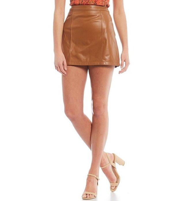 ジャンビニ レディース スカート ボトムス Rachel Genuine Leather Mini Skirt Camel