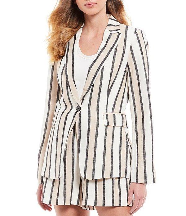 エーラブズエー レディース ジャケット・ブルゾン アウター Stripe Fit Linen Blend Blazer Blush/White/Black