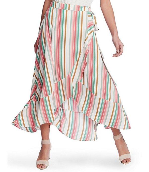 ワンステート レディース スカート ボトムス Multi Striped Wrap Front Hi-Low Ruffle Hem Skirt Cherry Blossom