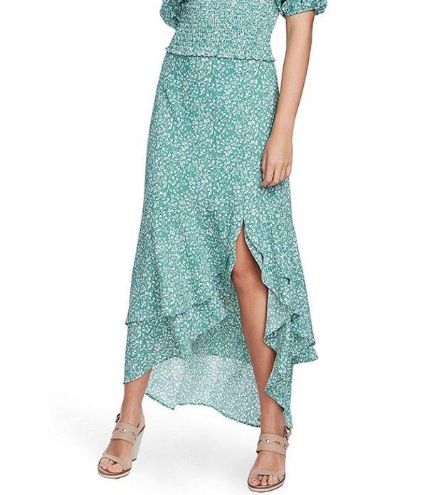 ワンステート レディース スカート ボトムス Folk Silhouette Floral Ruffle Hi-Low Skirt Fresh Grass