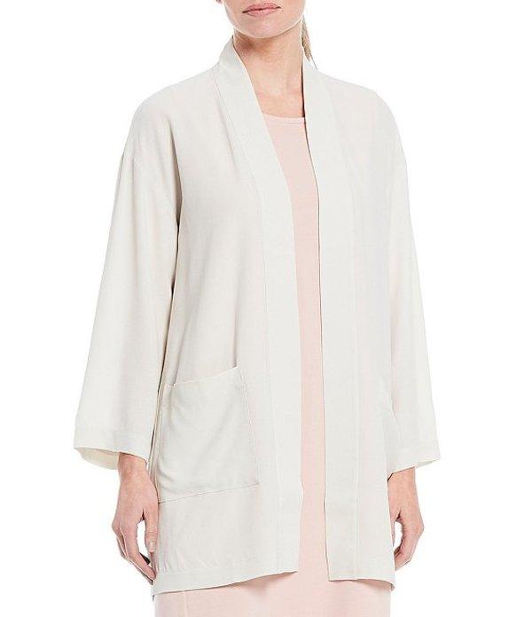 エイリーンフィッシャー レディース ジャケット・ブルゾン アウター Textured Matte Silk Georgette Crepe Kimono Jacket Bone