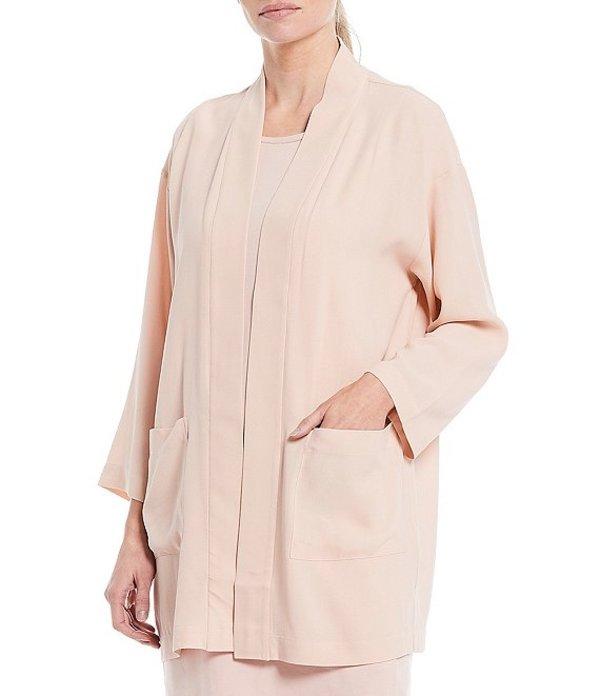 エイリーンフィッシャー レディース ジャケット・ブルゾン アウター Textured Matte Silk Georgette Crepe Kimono Jacket Powder
