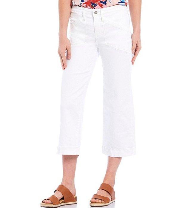 エヌワイディージェイ レディース デニムパンツ ボトムス Wide-Leg Utility Pockets Capri Jeans Optic White