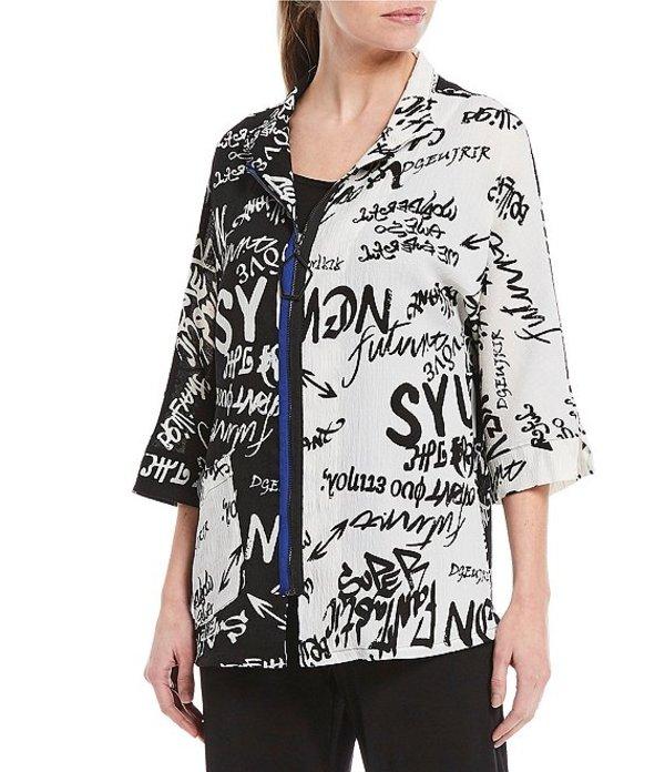 アイシーコレクション レディース ジャケット・ブルゾン アウター Black & White Typography Print Front Zip Jacket White