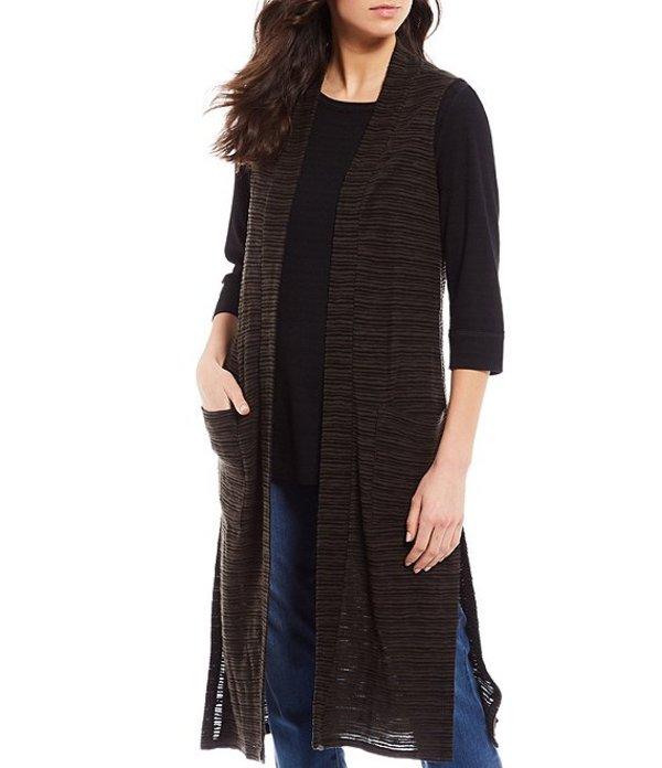 ウエストバウンド レディース ベスト アウター Two-Pocket Sleeveless Open Front Duster Vest Black