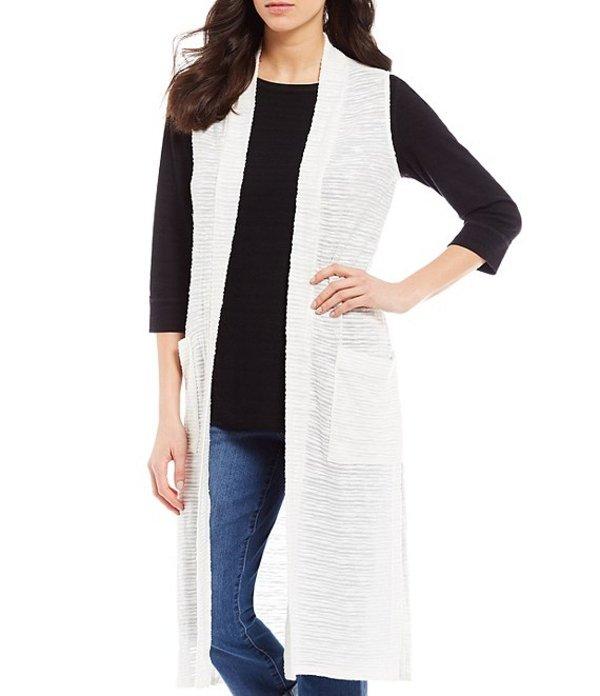 ウエストバウンド レディース ベスト アウター Two-Pocket Sleeveless Open Front Duster Vest Cream