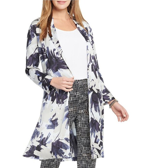 ニックアンドゾー レディース ジャケット・ブルゾン アウター Nic + Zoe Inky Flowers Print Lightweight Satin Crepe Long Jacket Blue Multi