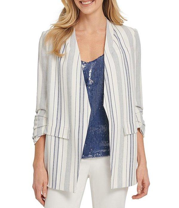 ダナ キャラン ニューヨーク レディース ジャケット・ブルゾン アウター Stripe Print Linen-Blend Ruched Sleeve Open Front Jacket Ivory/Blue Stripe