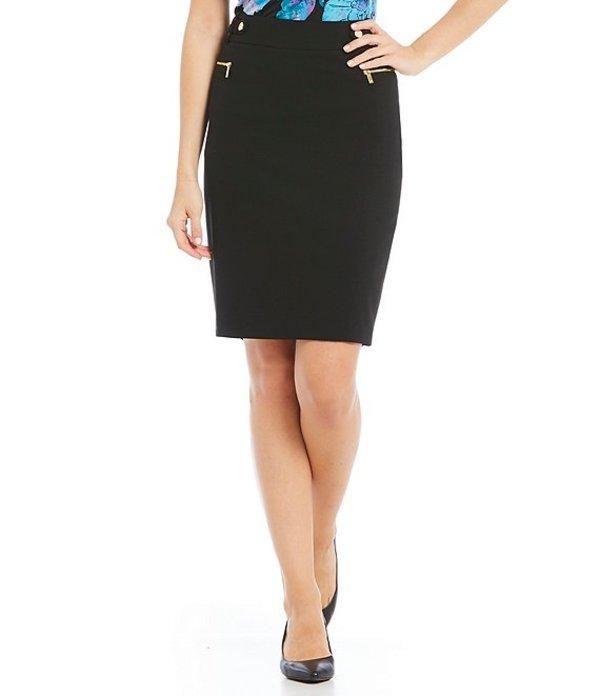 カルバンクライン レディース スカート ボトムス Luxe Stretch Suiting Side Zip Pocket Pencil Skirt Black