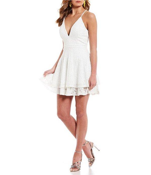 ハニーアンドロージー レディース ワンピース トップス Lace Double Hem Glitter Fit-and-Flare Dress White