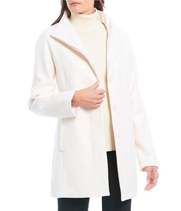 アンクライン レディース コート アウター Wool Blend Single Breasted Coat Ivory
