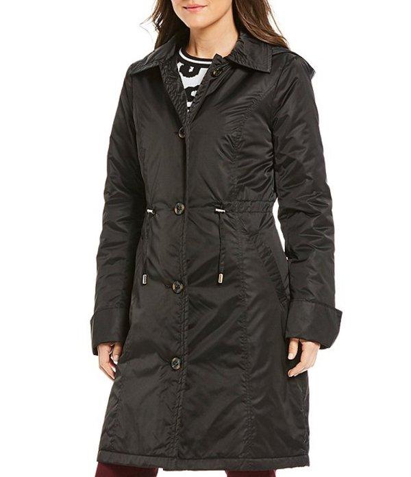 プレストンアンドヨーク レディース コート アウター Cinched Waist with Removable Hood Rain Jacket Black