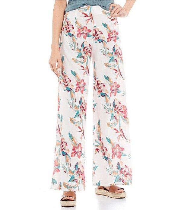 ロキシー レディース カジュアルパンツ ボトムス Beside Me Floral Print Smocked Wide Leg Pants Snow White Tropic Call