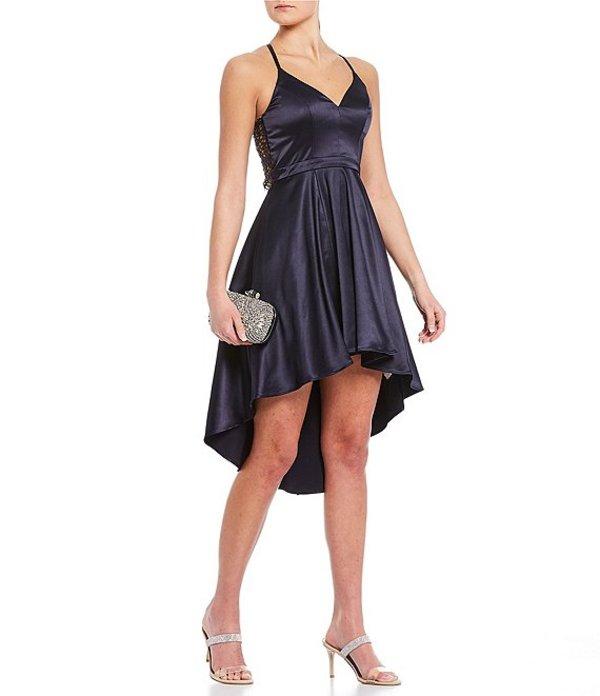 シークインハーツ レディース ハーフパンツ・ショーツ ボトムス Satin Lace-Bra-Back High-Low Dress Navy