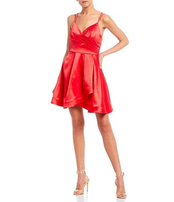 シークインハーツ レディース ワンピース トップス Double Spaghetti Strap Satin Faux-Wrap Dress Rouge Red