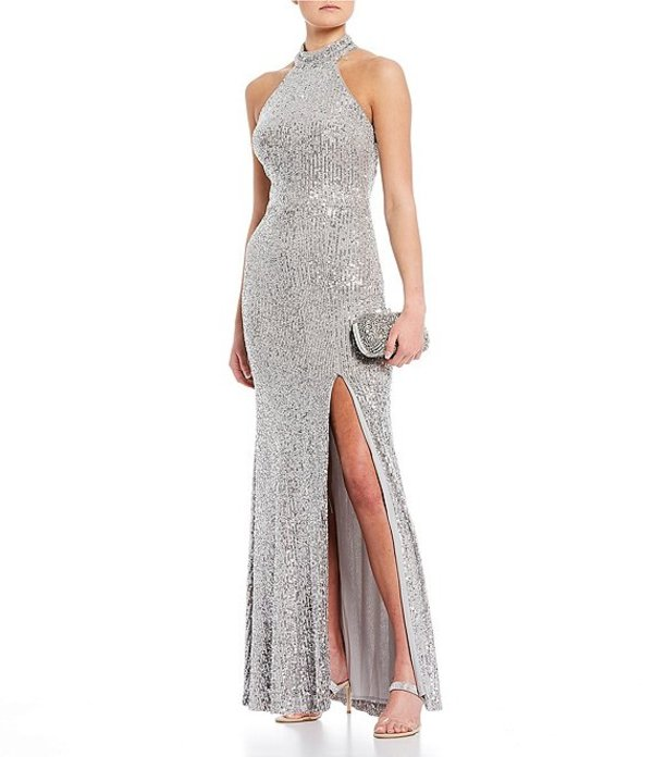 ジービー レディース ワンピース トップス Social Halter Neck Side Slit Sequin Long Dress Silver