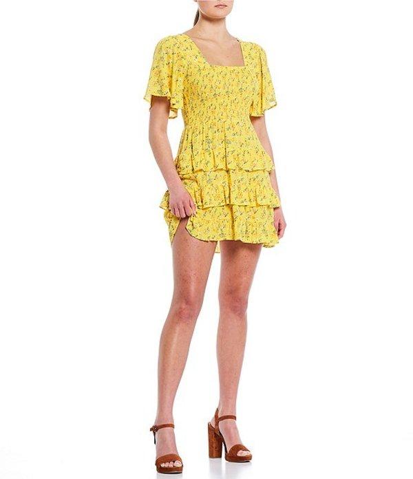 チェルシーアンドバイオレット レディース ワンピース トップス Floral Square Neck Dress Yellow
