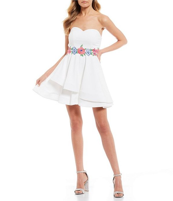 ビーダーリン レディース ワンピース トップス Strapless Embroidered Waist Double Hem Dress Off White/Pink/Blush