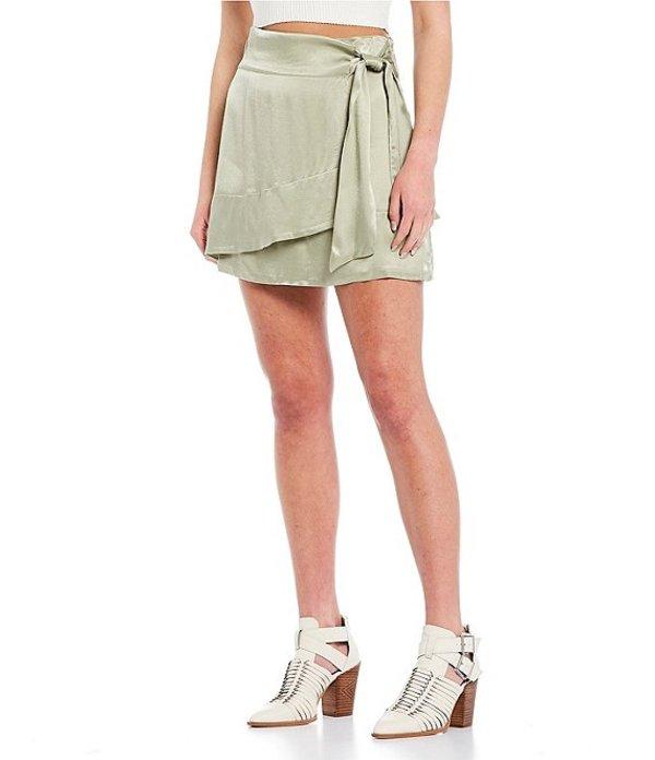 ジービー レディース スカート ボトムス Satin Faux-Wrap Skirt Sage