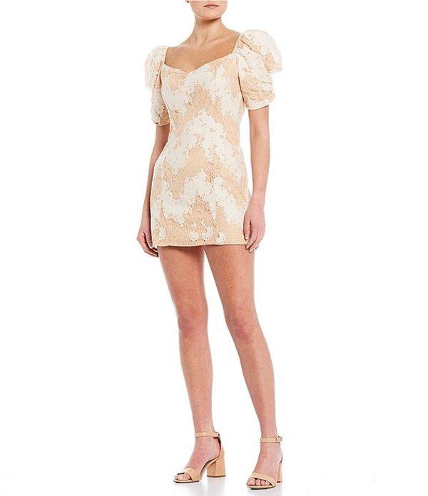 ジービー レディース ワンピース トップス Lace Puff Sleeve Dress Blush