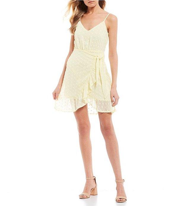 ジービー レディース ワンピース トップス Embroidered Dot Faux-Wrap Dress Yellow