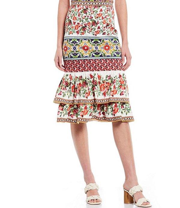 アントニオ メラーニ レディース スカート ボトムス Gwen Floral Tile Print Stretch Sateen Tier Cotton Blend Skirt Ivory/Punch