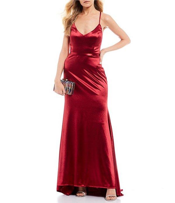 ジャンプ レディース ワンピース トップス Spaghetti Strap V-Neck Satin Long Dress Wine