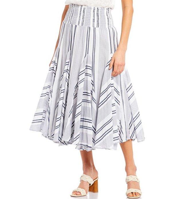 チェルシーアンドセオドール レディース スカート ボトムス Woven Mix Stripe Print Pull-On Cotton Broomstick Midi Skirt Blue/White