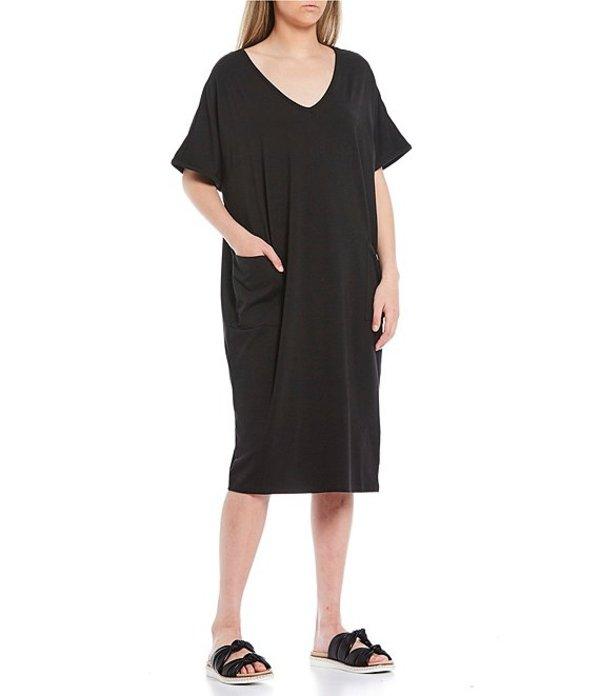 ケイトランドリー レディース ワンピース トップス Solid Knit V-Neck Short Sleeve Midi Lounge Dress Black
