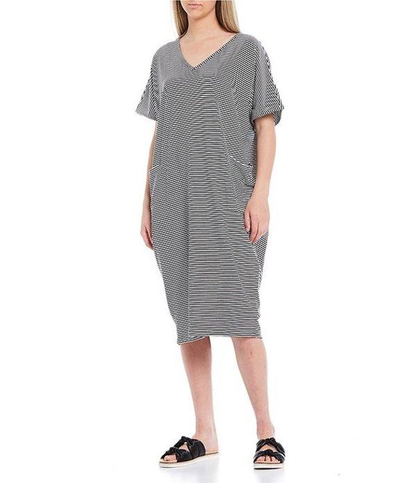 ケイトランドリー レディース ワンピース トップス Striped V-Neck Short Sleeve Knit Midi Lounge Dress Whiteness