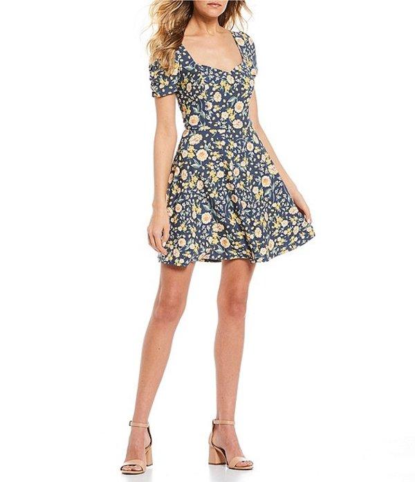 I.N.サンフランシスコ レディース ワンピース トップス Short Sleeve Ditsy Floral Skater Dress Multi