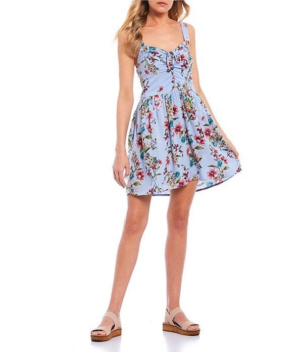 ビーオージコレクティブ レディース ワンピース トップス Tie-Cinched-Front Floral Dress Chambray/Pink