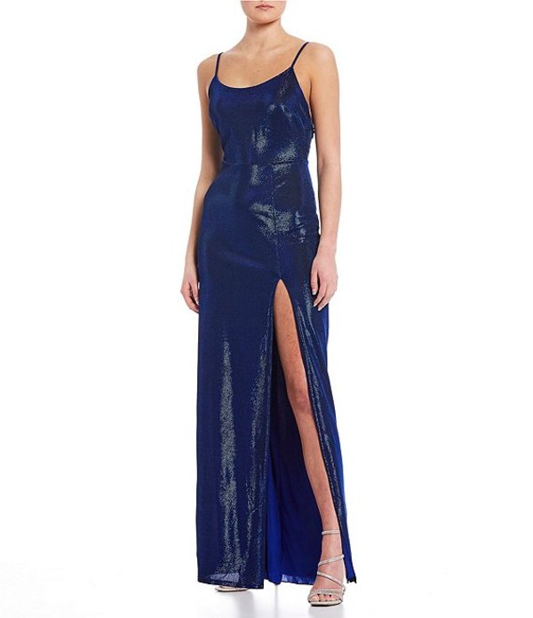 ビーダーリン レディース ワンピース トップス Spaghetti Strap Open Back High Side Slit Shimmer Long Dress Black/Royal