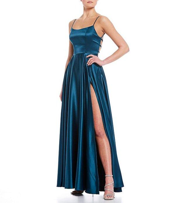 ビーダーリン レディース ワンピース トップス Lace-Up Back High Side Slit Satin Long Dress Dark Teal