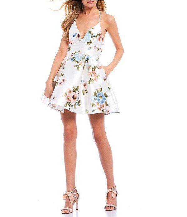 ビーダーリン レディース ワンピース トップス V-Neck Halter Floral Fit-and-Flare Dress Floral Multi