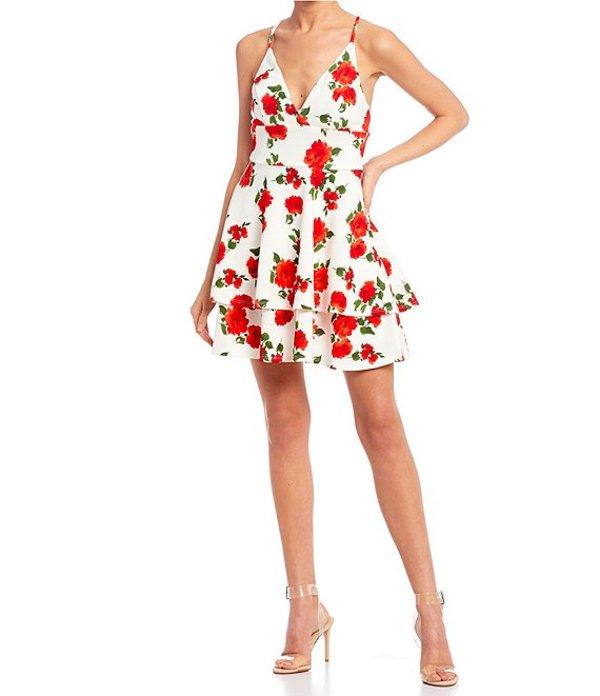 ビーダーリン レディース ワンピース トップス Spaghetti Strap Floral Print Double Hem Dress Off White/Red