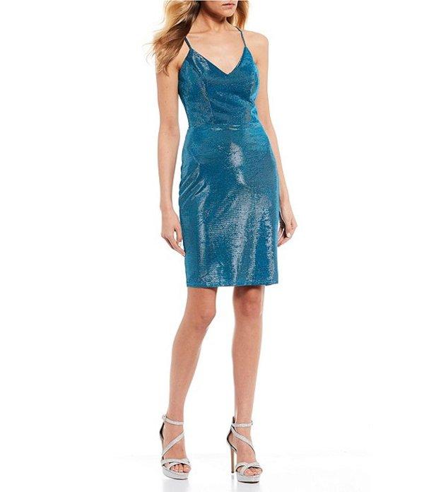 ビーダーリン レディース ワンピース トップス V-Neck Shimmer Lace-Back Sheath Dress Black/Teal