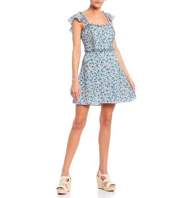 ビーダーリン レディース ワンピース トップス Square Neck Ruffle Trim Ditsy Floral Dress Mint/Turquoise/Coral