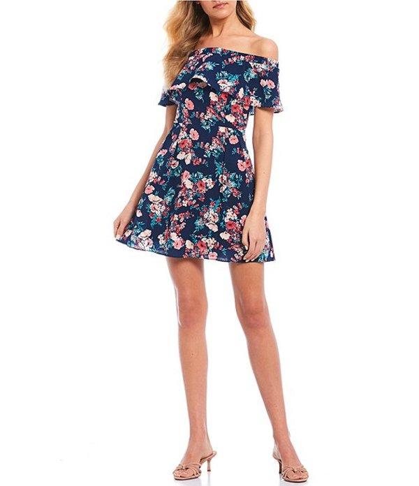 ビーダーリン レディース ワンピース トップス Off-The-Shoulder Flounce Floral Dress Navy/Pink