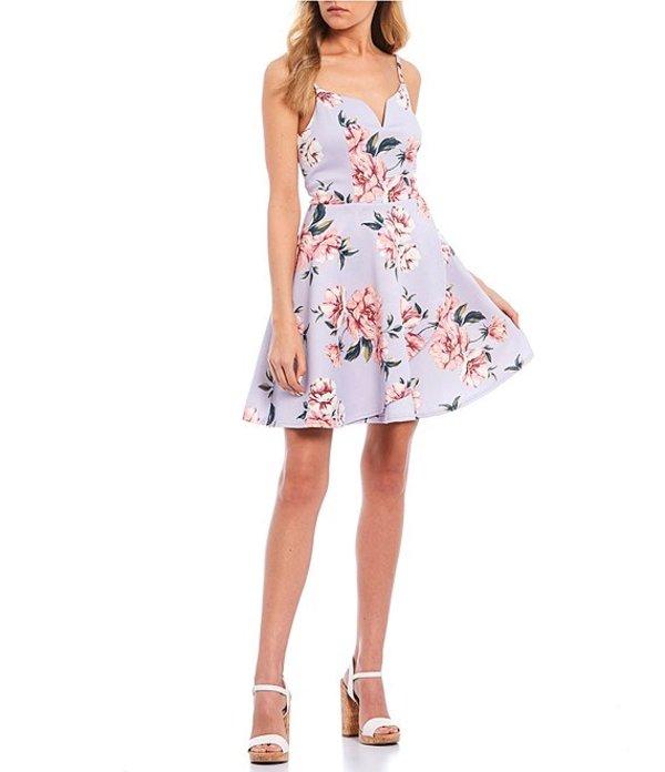 シティヴァイブ レディース ワンピース トップス Notched Floral Print Skater Dress Lavender/Magenta