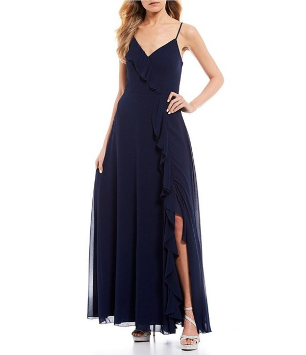 ティーズミー レディース ワンピース トップス Spaghetti Strap Side Slit Ruffle Draped Long Dress Navy