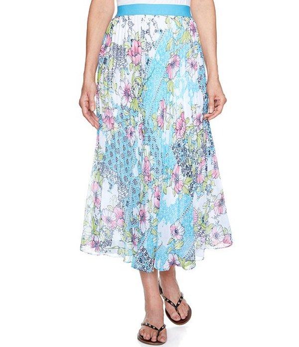 ルビーアールディー レディース スカート ボトムス Patchwork Medallion Floral Print Georgette Lined Pleated Skirt Pool Multi