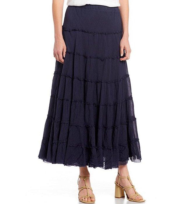 レバ レディース スカート ボトムス Willow Crinkled Cotton Tiered Maxi Skirt Navy
